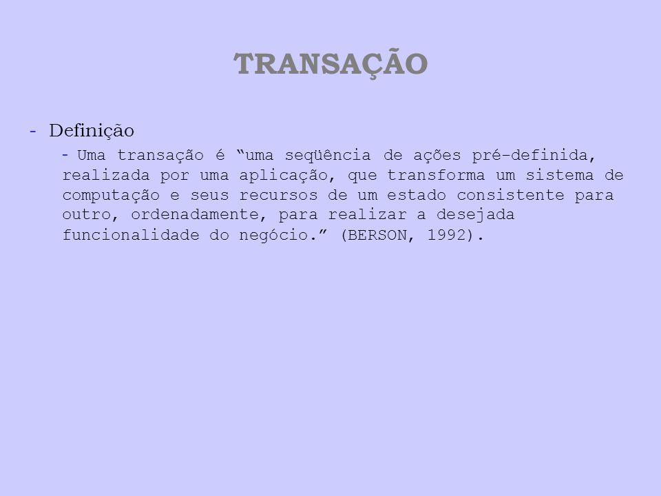 """TRANSAÇÃO - Definição - Uma transação é """"uma seqüência de ações pré-definida, realizada por uma aplicação, que transforma um sistema de computação e s"""