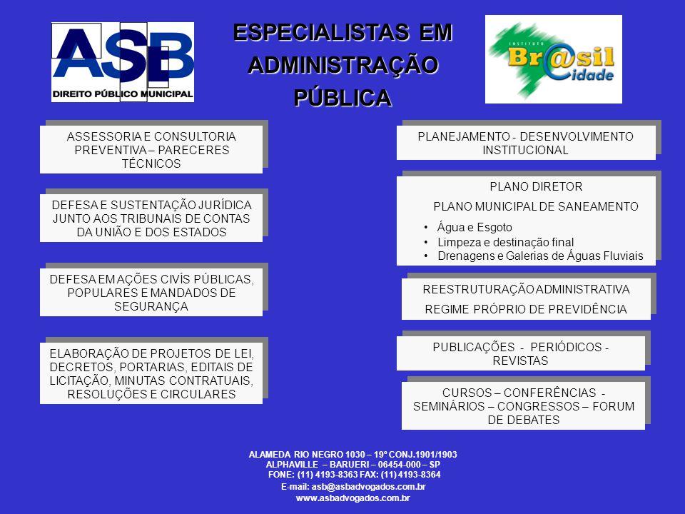 ANTONIO SERGIO BAPTISTA Advogado - Especialista em Direito Público Coordenador do Conselho Técnico Multidisciplinar da Associação Paulista de Municípios Sócio Diretor da Antonio Sergio Advogados Associados Diretor Presidente do Instituto BrasilCidade ALAMEDA RIO NEGRO 1030 – 19º CONJ.1901/1903 ALPHAVILLE – BARUERI – 06454-000 – SP FONE: (11) 4193-8363 FAX: (11) 4193-8364 E-mail: asb@asbadvogados.com.br www.asbadvogados.com.br P A L E S T R A N T E