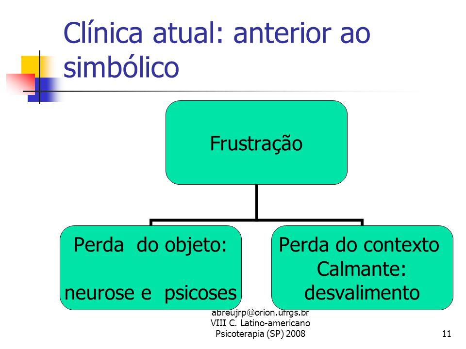 abreujrp@orion.ufrgs.br VIII C. Latino-americano Psicoterapia (SP) 200811 Clínica atual: anterior ao simbólico Frustração Perda do objeto: neurose e p