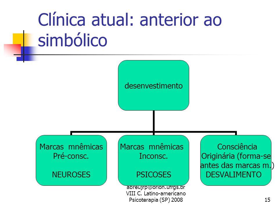 abreujrp@orion.ufrgs.br VIII C. Latino-americano Psicoterapia (SP) 200815 Clínica atual: anterior ao simbólico desenvestimento Marcas mnêmicas Pré-con