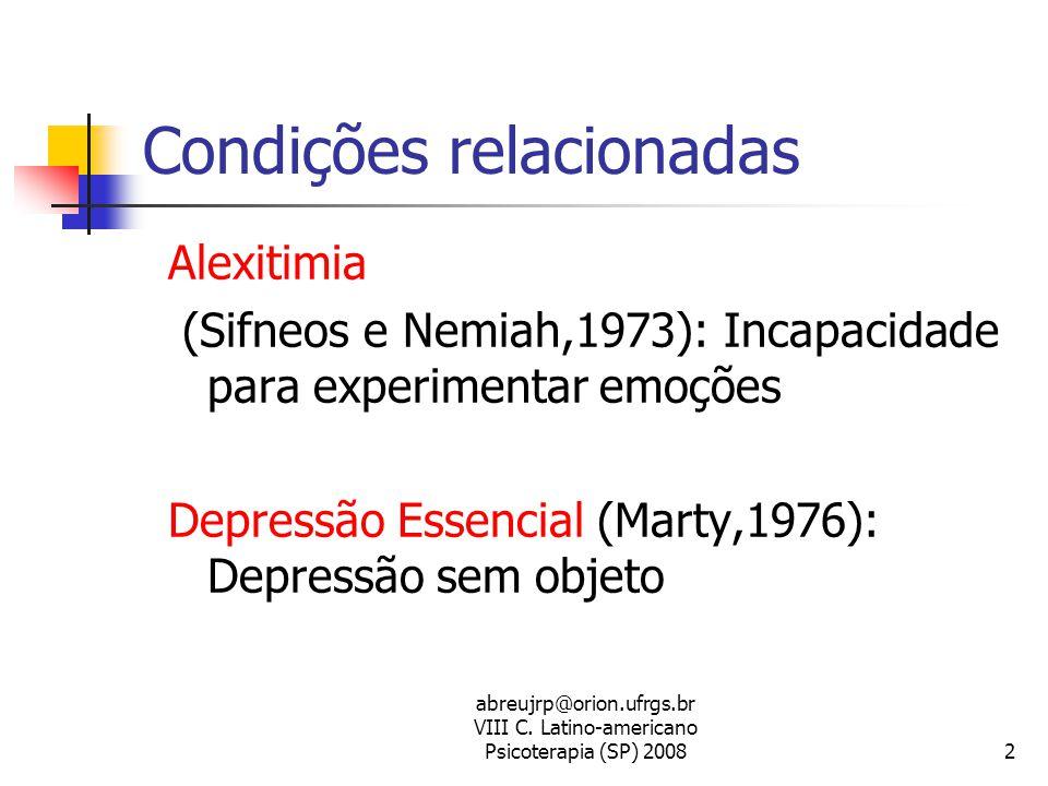abreujrp@orion.ufrgs.br VIII C. Latino-americano Psicoterapia (SP) 20082 Condições relacionadas Alexitimia (Sifneos e Nemiah,1973): Incapacidade para