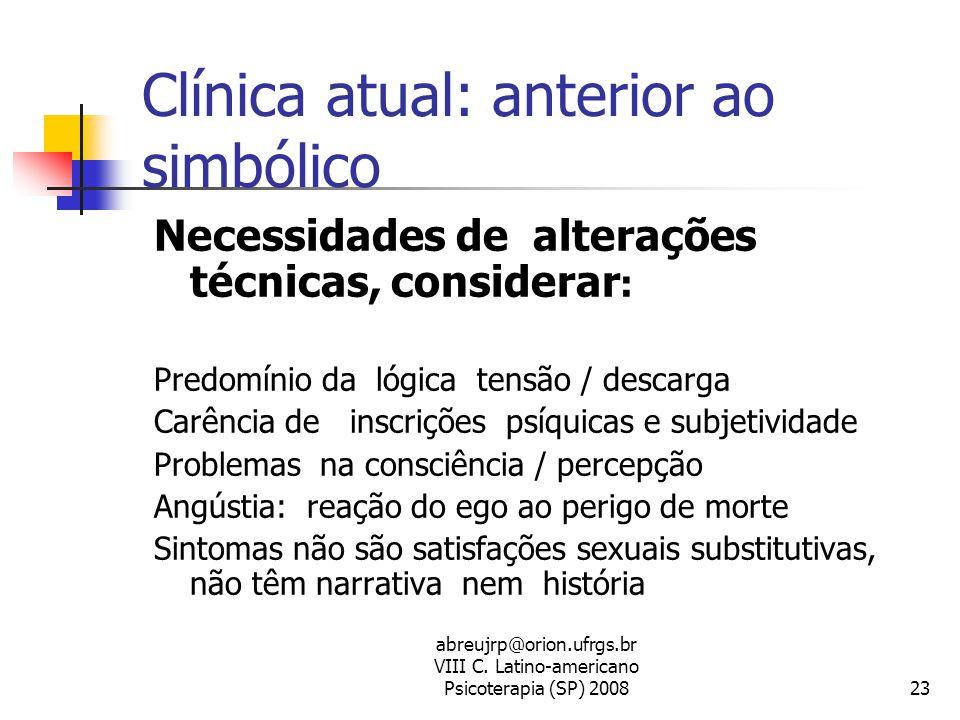 abreujrp@orion.ufrgs.br VIII C. Latino-americano Psicoterapia (SP) 200823 Clínica atual: anterior ao simbólico Necessidades de alterações técnicas, co