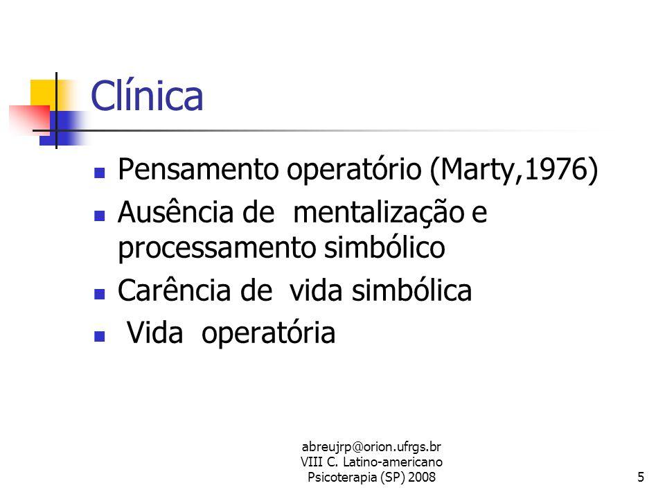 abreujrp@orion.ufrgs.br VIII C. Latino-americano Psicoterapia (SP) 20085 Clínica  Pensamento operatório (Marty,1976)  Ausência de mentalização e pro