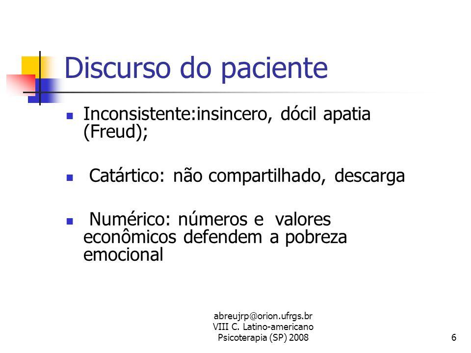 abreujrp@orion.ufrgs.br VIII C. Latino-americano Psicoterapia (SP) 20086 Discurso do paciente  Inconsistente:insincero, dócil apatia (Freud);  Catár
