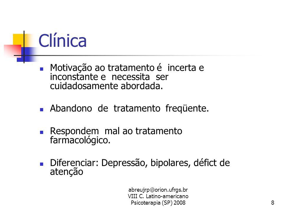 abreujrp@orion.ufrgs.br VIII C. Latino-americano Psicoterapia (SP) 20088 Clínica  Motivação ao tratamento é incerta e inconstante e necessita ser cui