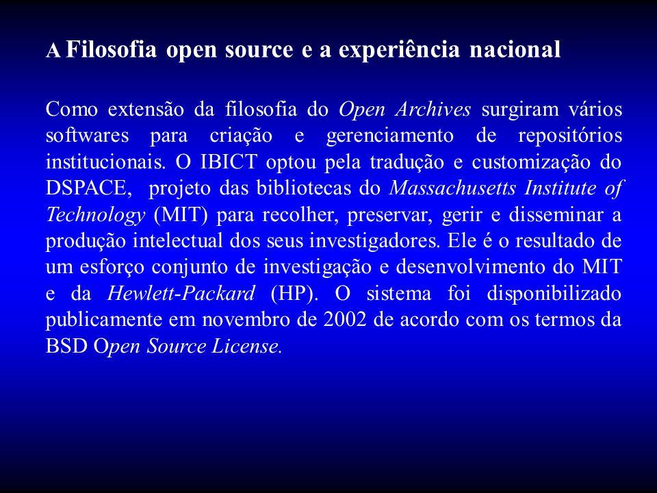 Como extensão da filosofia do Open Archives surgiram vários softwares para criação e gerenciamento de repositórios institucionais. O IBICT optou pela