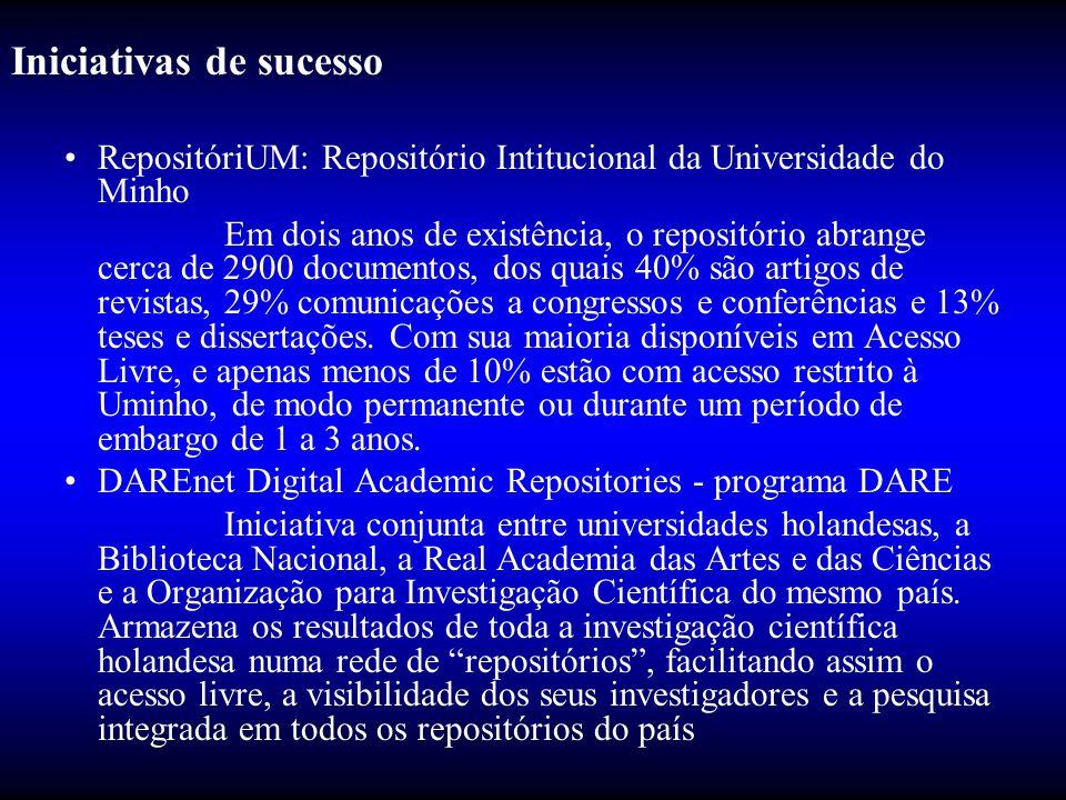 Iniciativas de sucesso •RepositóriUM: Repositório Intitucional da Universidade do Minho Em dois anos de existência, o repositório abrange cerca de 290