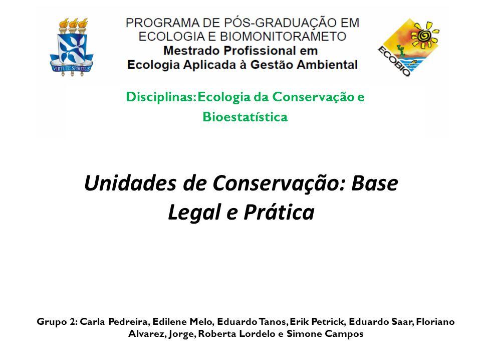 Unidades de Conservação: Base Legal e Prática Grupo 2: Carla Pedreira, Edilene Melo, Eduardo Tanos, Erik Petrick, Eduardo Saar, Floriano Alvarez, Jorg