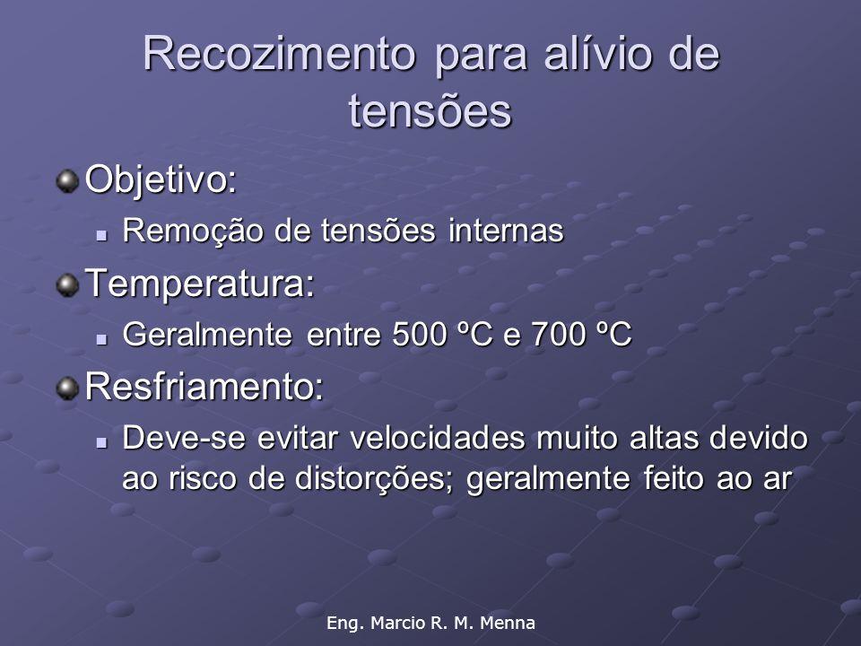 Eng. Marcio R. M. Menna Recozimento para alívio de tensões Objetivo:  Remoção de tensões internas Temperatura:  Geralmente entre 500 ºC e 700 ºC Res