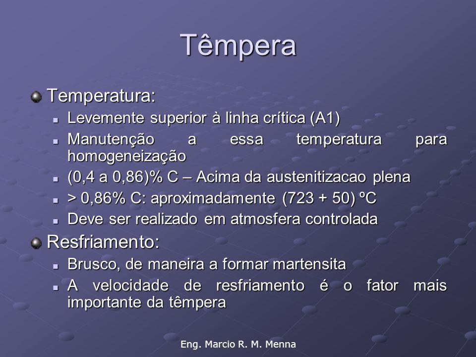Eng. Marcio R. M. Menna Têmpera Temperatura:  Levemente superior à linha crítica (A1)  Manutenção a essa temperatura para homogeneização  (0,4 a 0,