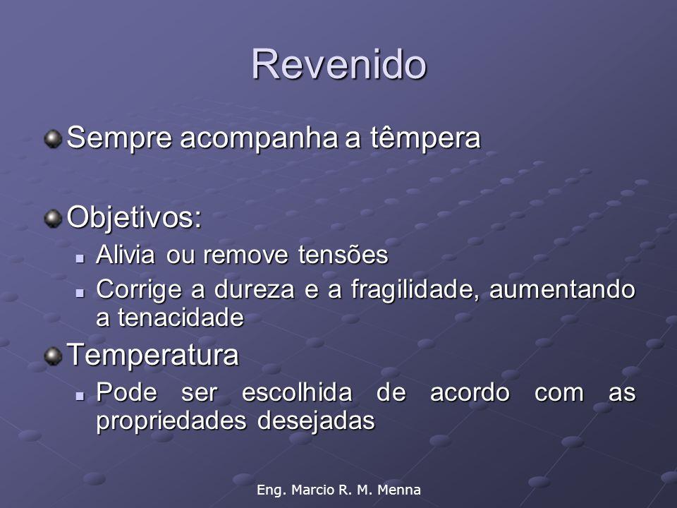 Eng. Marcio R. M. Menna Revenido Sempre acompanha a têmpera Objetivos:  Alivia ou remove tensões  Corrige a dureza e a fragilidade, aumentando a ten