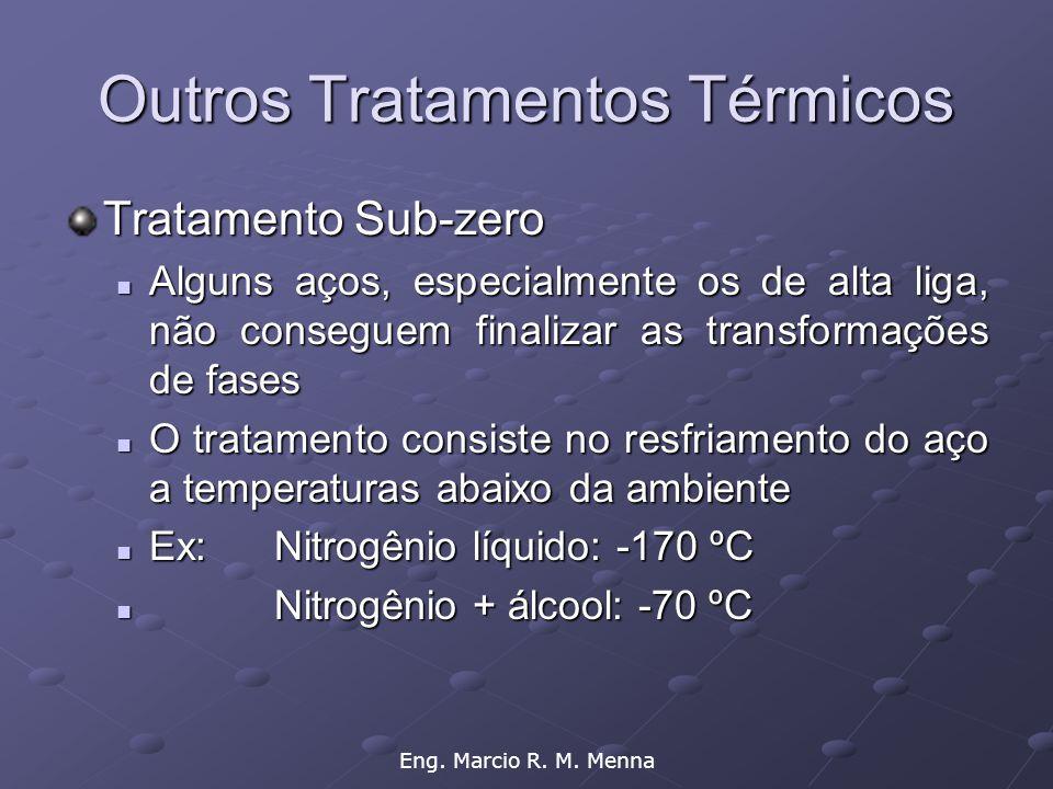 Eng. Marcio R. M. Menna Outros Tratamentos Térmicos Tratamento Sub-zero  Alguns aços, especialmente os de alta liga, não conseguem finalizar as trans