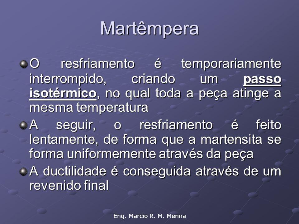 Eng. Marcio R. M. Menna Martêmpera O resfriamento é temporariamente interrompido, criando um passo isotérmico, no qual toda a peça atinge a mesma temp
