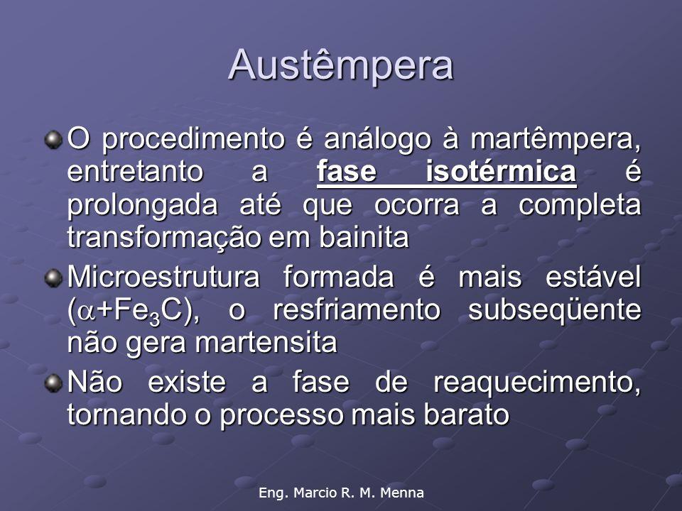 Eng. Marcio R. M. Menna Austêmpera O procedimento é análogo à martêmpera, entretanto a fase isotérmica é prolongada até que ocorra a completa transfor