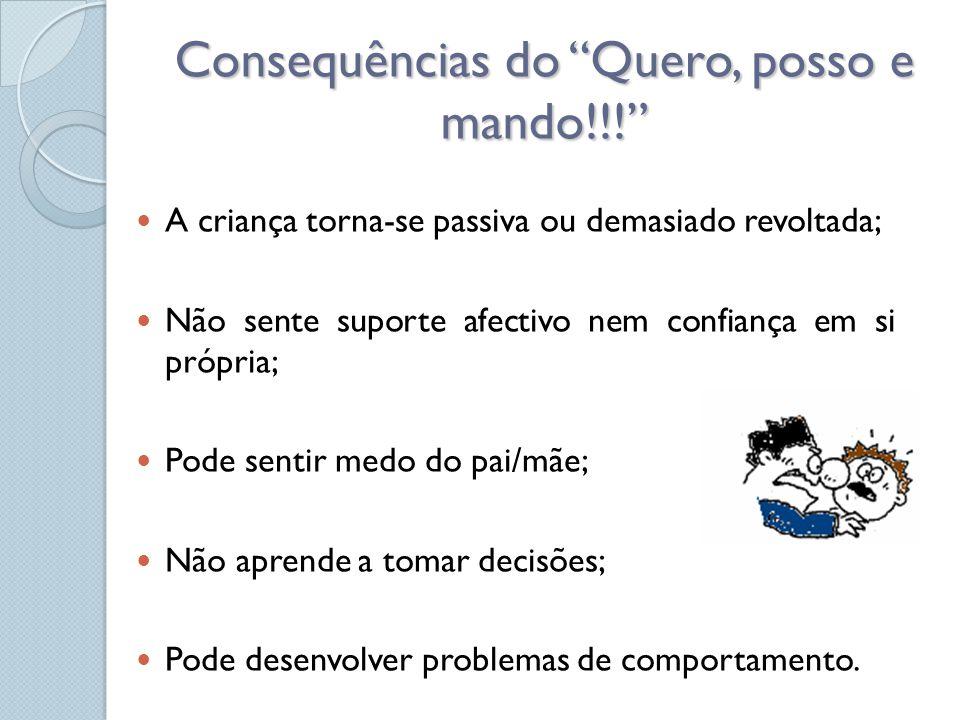 """Consequências do """"Quero, posso e mando!!!""""  A criança torna-se passiva ou demasiado revoltada;  Não sente suporte afectivo nem confiança em si própr"""
