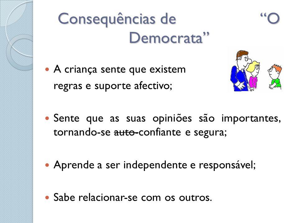 """Consequências de """"O Democrata""""  A criança sente que existem regras e suporte afectivo;  Sente que as suas opiniões são importantes, tornando-se auto"""
