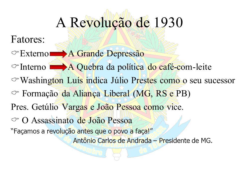 A Revolução de 1930 Fatores:  Externo A Grande Depressão  Interno A Quebra da política do café-com-leite  Washington Luís indica Júlio Prestes como