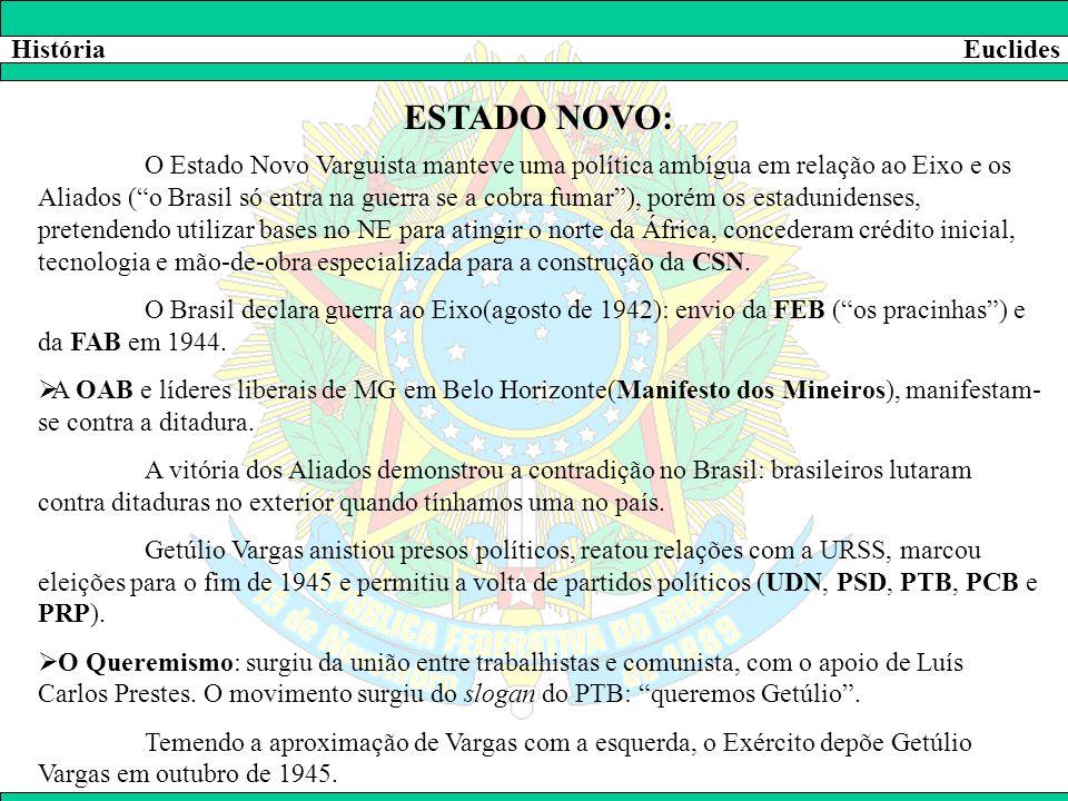 """HistóriaEuclides ESTADO NOVO: O Estado Novo Varguista manteve uma política ambígua em relação ao Eixo e os Aliados (""""o Brasil só entra na guerra se a"""