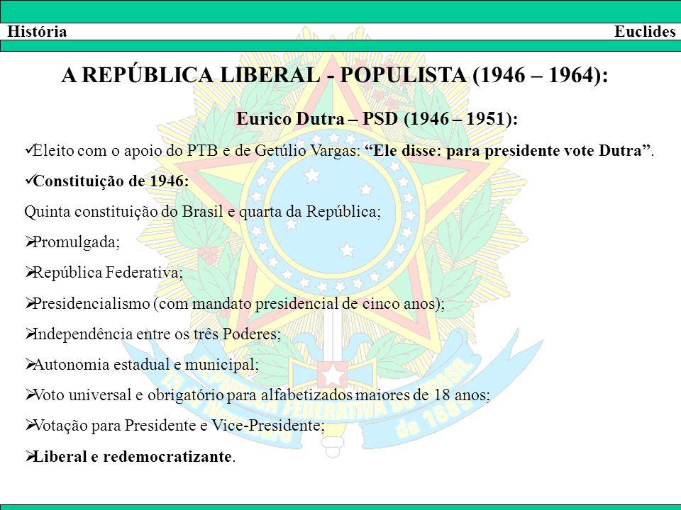 """HistóriaEuclides A REPÚBLICA LIBERAL - POPULISTA (1946 – 1964): Eurico Dutra – PSD (1946 – 1951):  Eleito com o apoio do PTB e de Getúlio Vargas: """"El"""