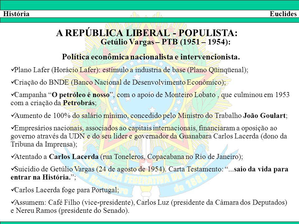 HistóriaEuclides A REPÚBLICA LIBERAL - POPULISTA: Getúlio Vargas – PTB (1951 – 1954): Política econômica nacionalista e intervencionista.  Plano Lafe