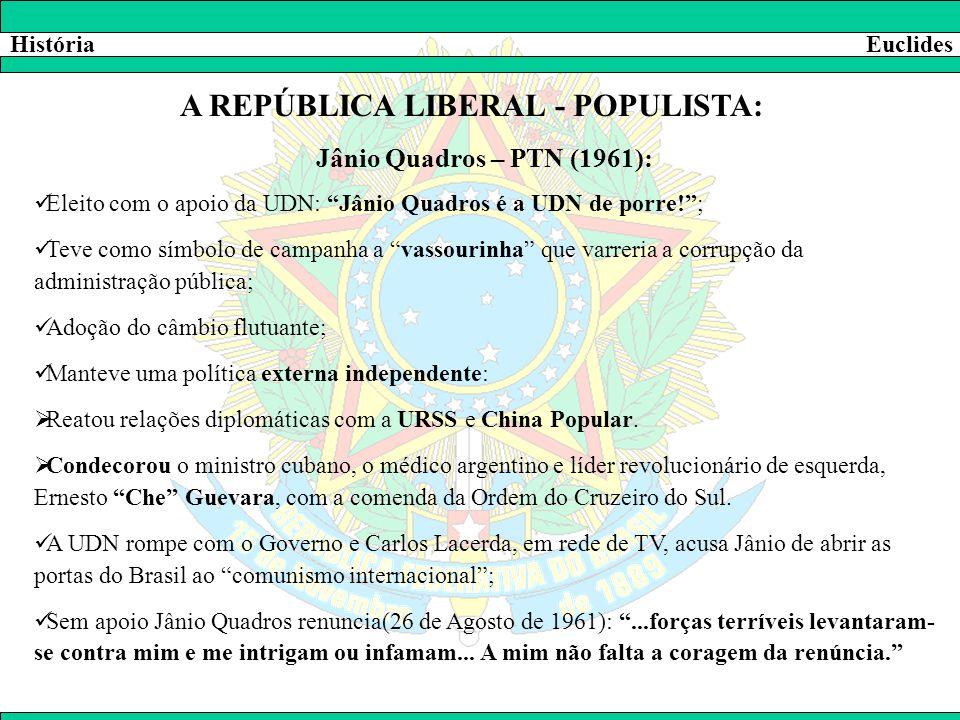 """HistóriaEuclides A REPÚBLICA LIBERAL - POPULISTA: Jânio Quadros – PTN (1961):  Eleito com o apoio da UDN: """"Jânio Quadros é a UDN de porre!"""";  Teve c"""