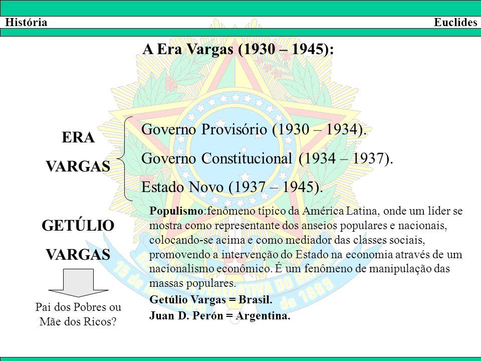 HistóriaEuclides A Era Vargas (1930 – 1945): ERA VARGAS Governo Provisório (1930 – 1934). Governo Constitucional (1934 – 1937). Estado Novo (1937 – 19