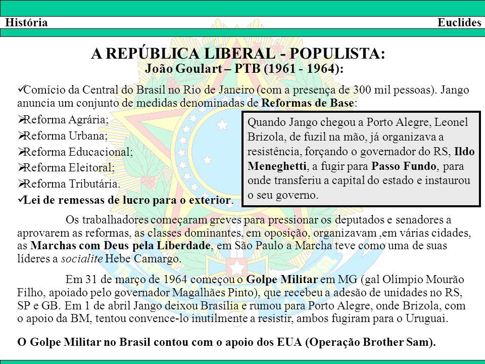 HistóriaEuclides A REPÚBLICA LIBERAL - POPULISTA: João Goulart – PTB (1961 - 1964):  Comício da Central do Brasil no Rio de Janeiro (com a presença d
