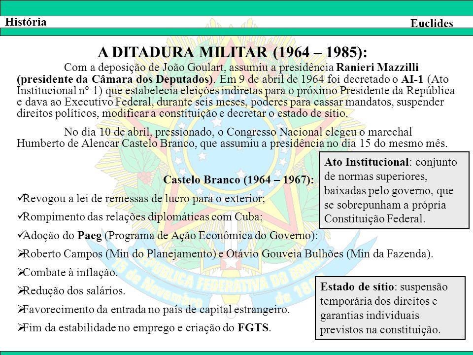 História Euclides A DITADURA MILITAR (1964 – 1985): Com a deposição de João Goulart, assumiu a presidência Ranieri Mazzilli (presidente da Câmara dos