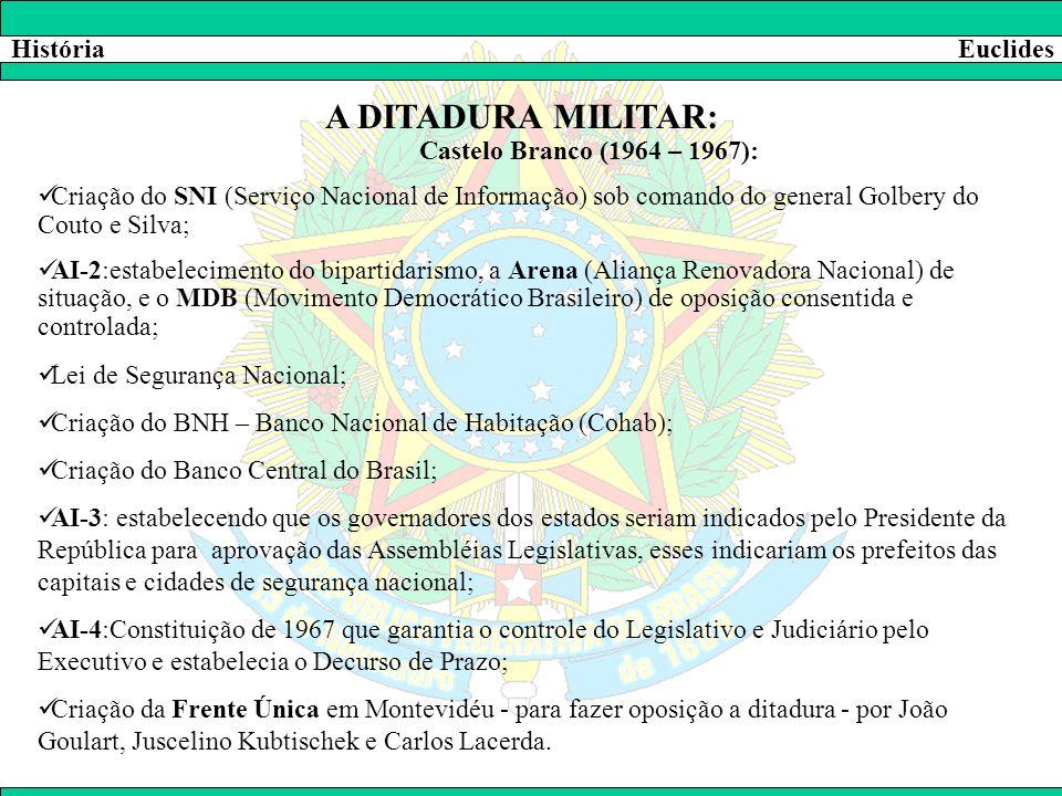 HistóriaEuclides A DITADURA MILITAR: Castelo Branco (1964 – 1967):  Criação do SNI (Serviço Nacional de Informação) sob comando do general Golbery do