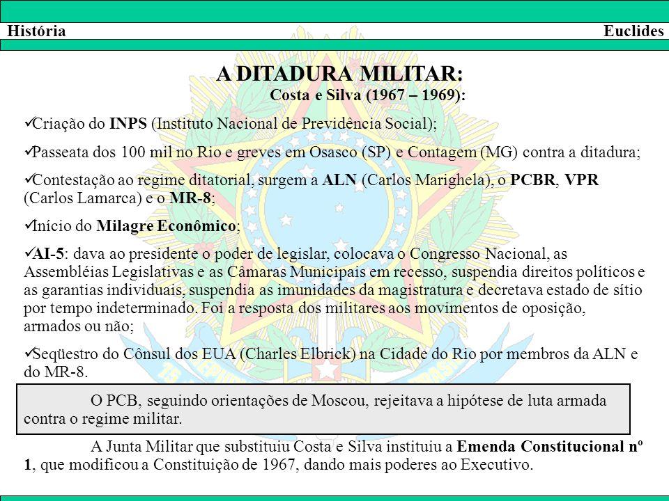 HistóriaEuclides A DITADURA MILITAR: Costa e Silva (1967 – 1969):  Criação do INPS (Instituto Nacional de Previdência Social);  Passeata dos 100 mil
