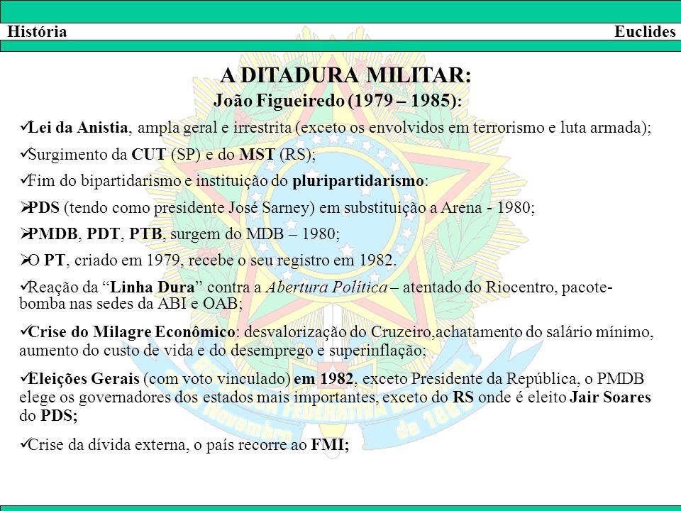 HistóriaEuclides A DITADURA MILITAR: João Figueiredo (1979 – 1985) :  Lei da Anistia, ampla geral e irrestrita (exceto os envolvidos em terrorismo e