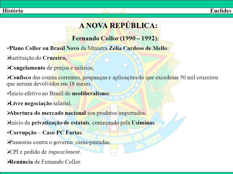 HistóriaEuclides A NOVA REPÚBLICA: Fernando Collor (1990 – 1992) :  Plano Collor ou Brasil Novo da Ministra Zélia Cardoso de Mello:  Instituição do