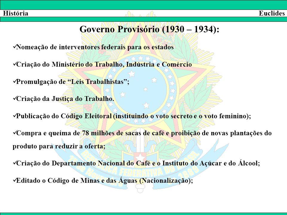HistóriaEuclides Governo Provisório (1930 – 1934):  Nomeação de interventores federais para os estados  Criação do Ministério do Trabalho, Indústria