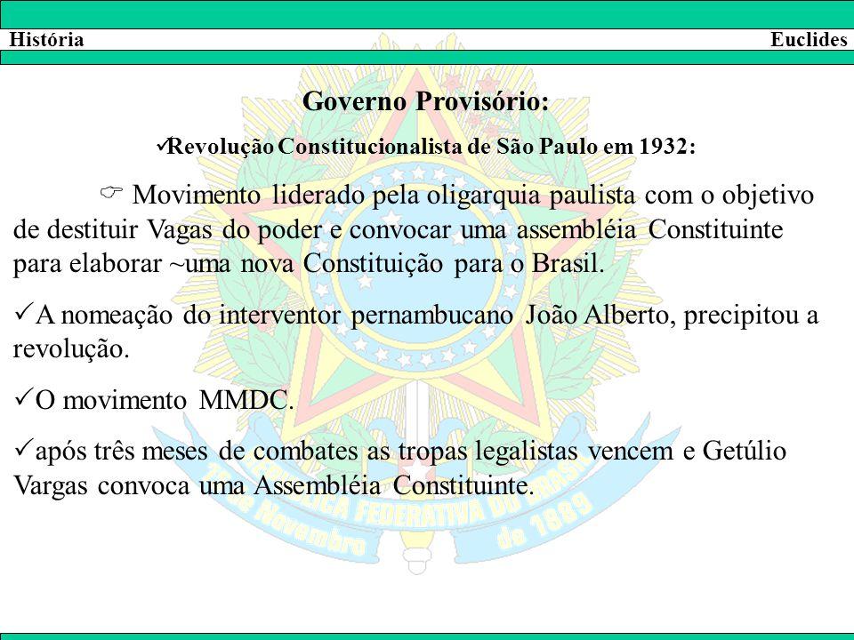 HistóriaEuclides Governo Provisório:  Revolução Constitucionalista de São Paulo em 1932:  Movimento liderado pela oligarquia paulista com o objetivo
