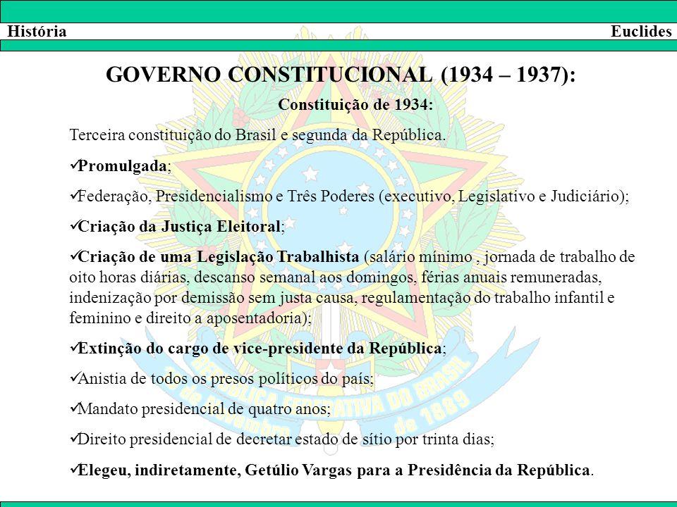 HistóriaEuclides GOVERNO CONSTITUCIONAL (1934 – 1937): Constituição de 1934: Terceira constituição do Brasil e segunda da República.  Promulgada;  F