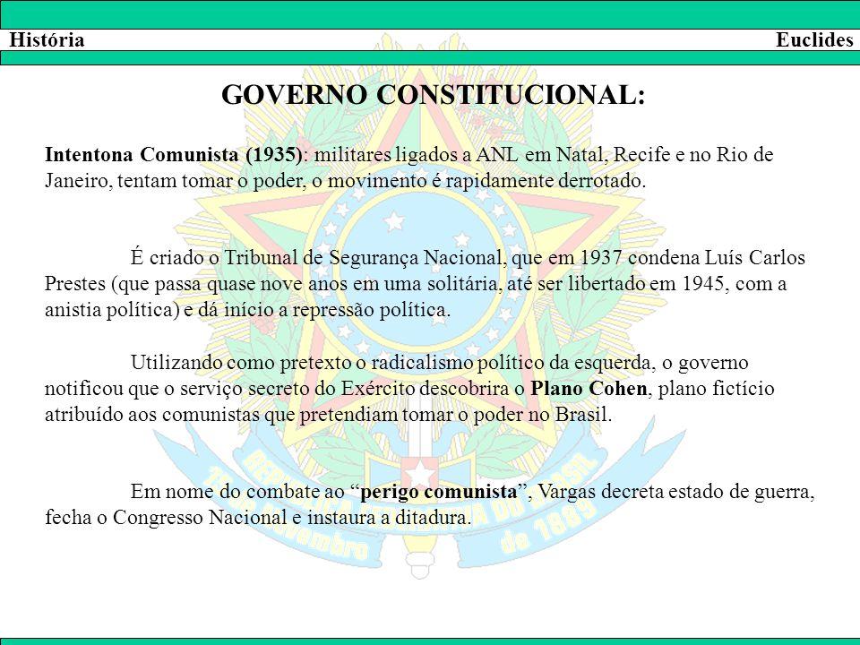 HistóriaEuclides GOVERNO CONSTITUCIONAL: Intentona Comunista (1935): militares ligados a ANL em Natal, Recife e no Rio de Janeiro, tentam tomar o pode