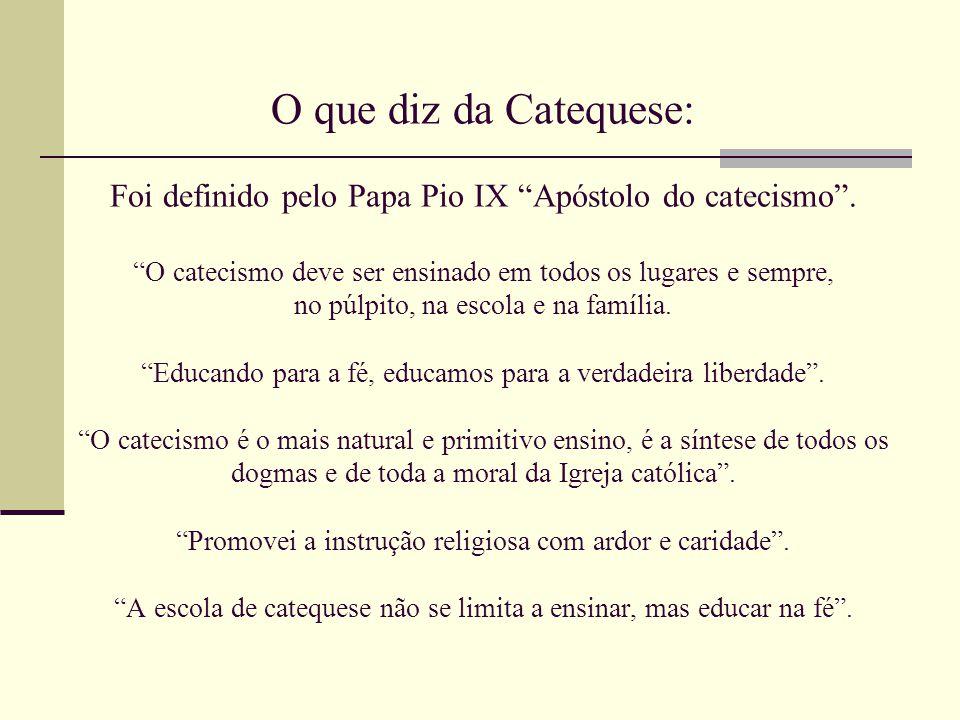 O que diz da Catequese: Foi definido pelo Papa Pio IX Apóstolo do catecismo .