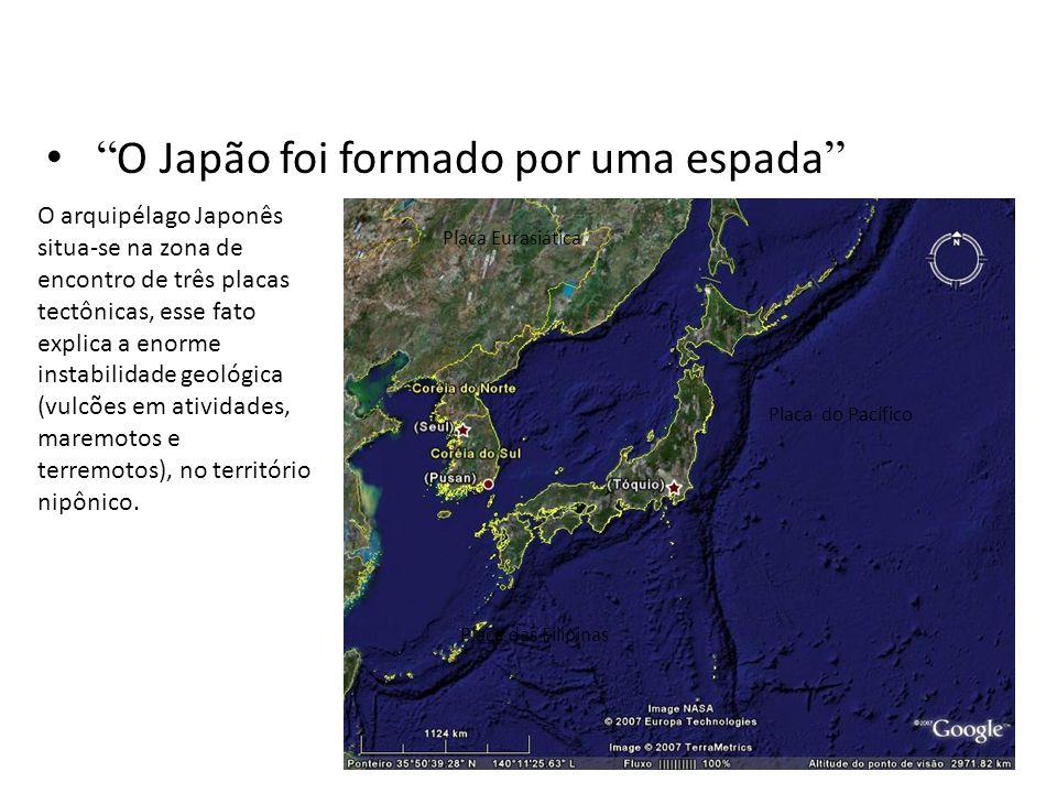 """• """" O Japão foi formado por uma espada """" Placa Eurasiática Placa das Filipinas Placa do Pacífico O arquipélago Japonês situa-se na zona de encontro de"""