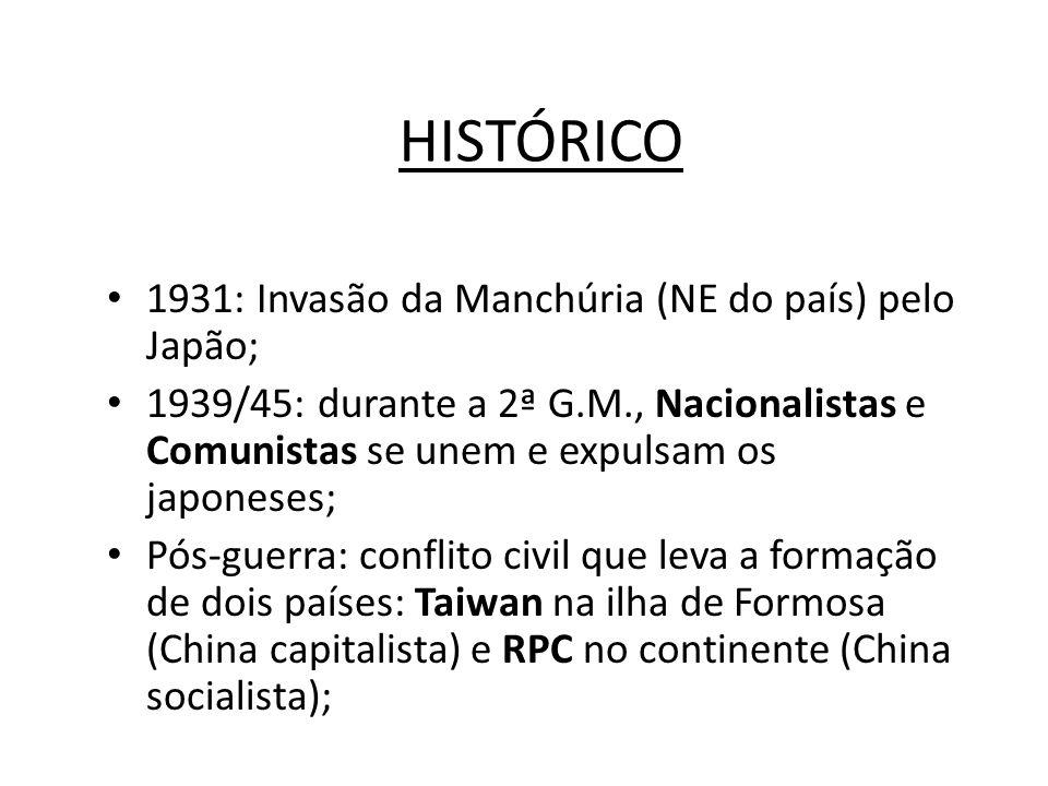 HISTÓRICO • 1931: Invasão da Manchúria (NE do país) pelo Japão; • 1939/45: durante a 2ª G.M., Nacionalistas e Comunistas se unem e expulsam os japones
