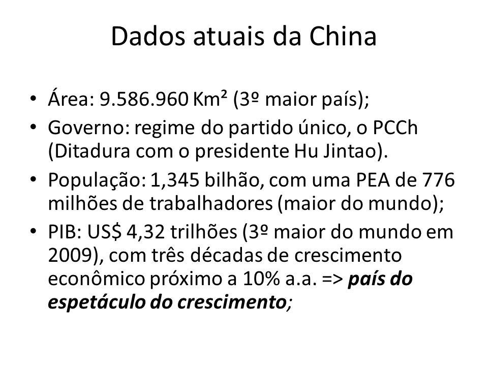 Dados atuais da China • Área: 9.586.960 Km² (3º maior país); • Governo: regime do partido único, o PCCh (Ditadura com o presidente Hu Jintao). • Popul
