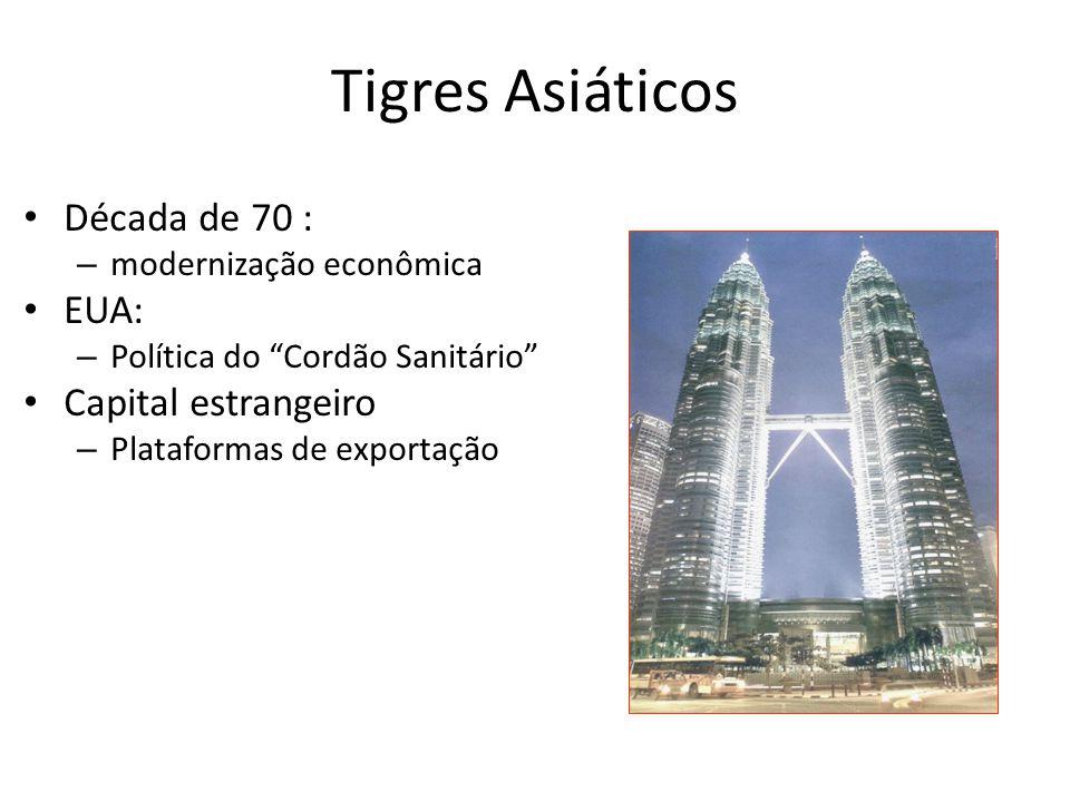 """Tigres Asiáticos • Década de 70 : – modernização econômica • EUA: – Política do """"Cordão Sanitário"""" • Capital estrangeiro – Plataformas de exportação"""
