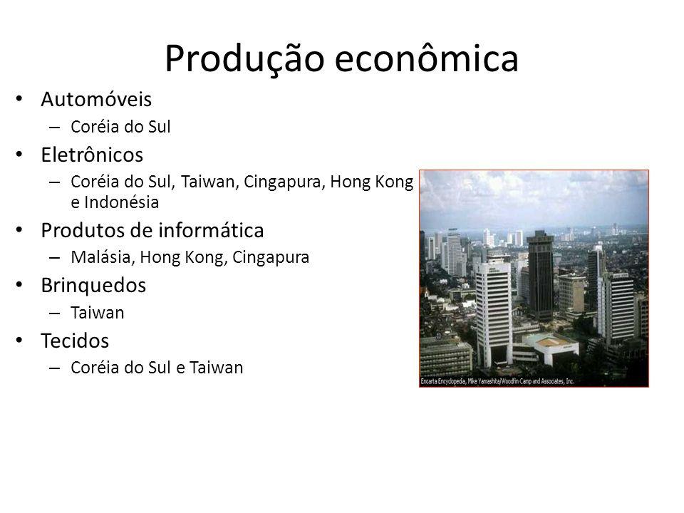 Produção econômica • Automóveis – Coréia do Sul • Eletrônicos – Coréia do Sul, Taiwan, Cingapura, Hong Kong e Indonésia • Produtos de informática – Ma