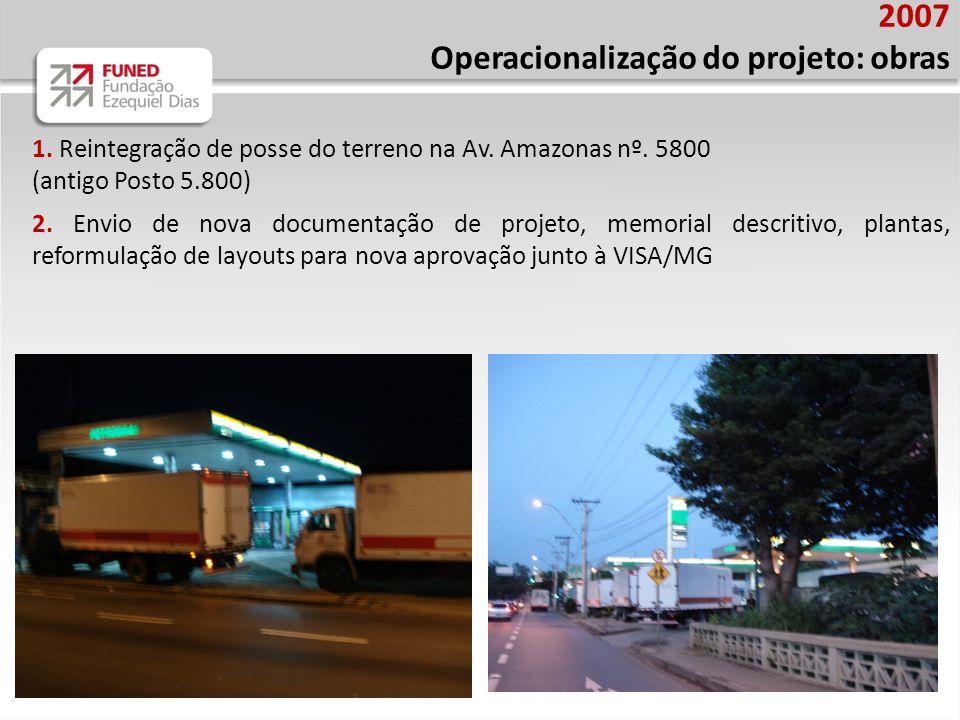 2007 Operacionalização do projeto: obras 1. Reintegração de posse do terreno na Av. Amazonas nº. 5800 (antigo Posto 5.800) 2. Envio de nova documentaç