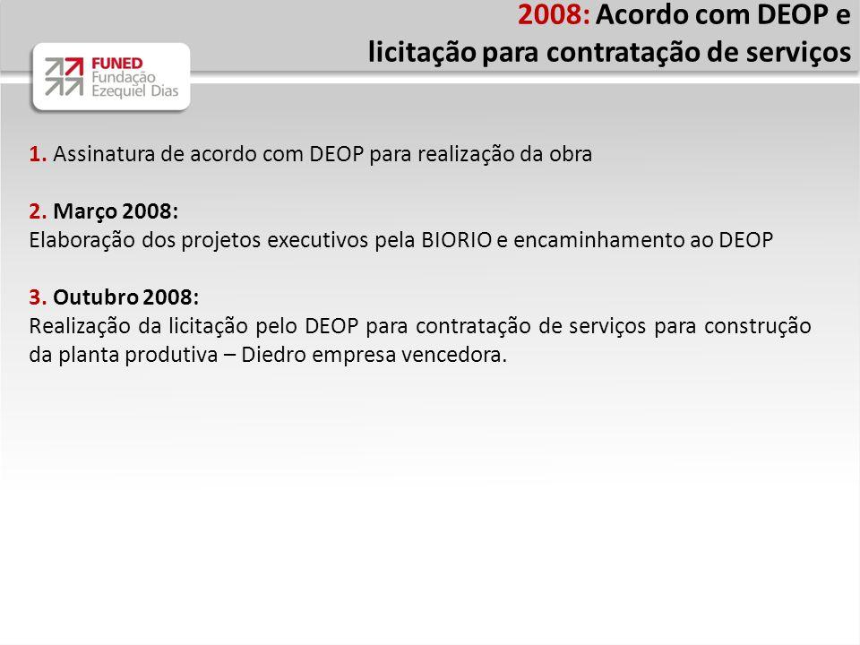 2008: Acordo com DEOP e licitação para contratação de serviços 1. Assinatura de acordo com DEOP para realização da obra 2. Março 2008: Elaboração dos