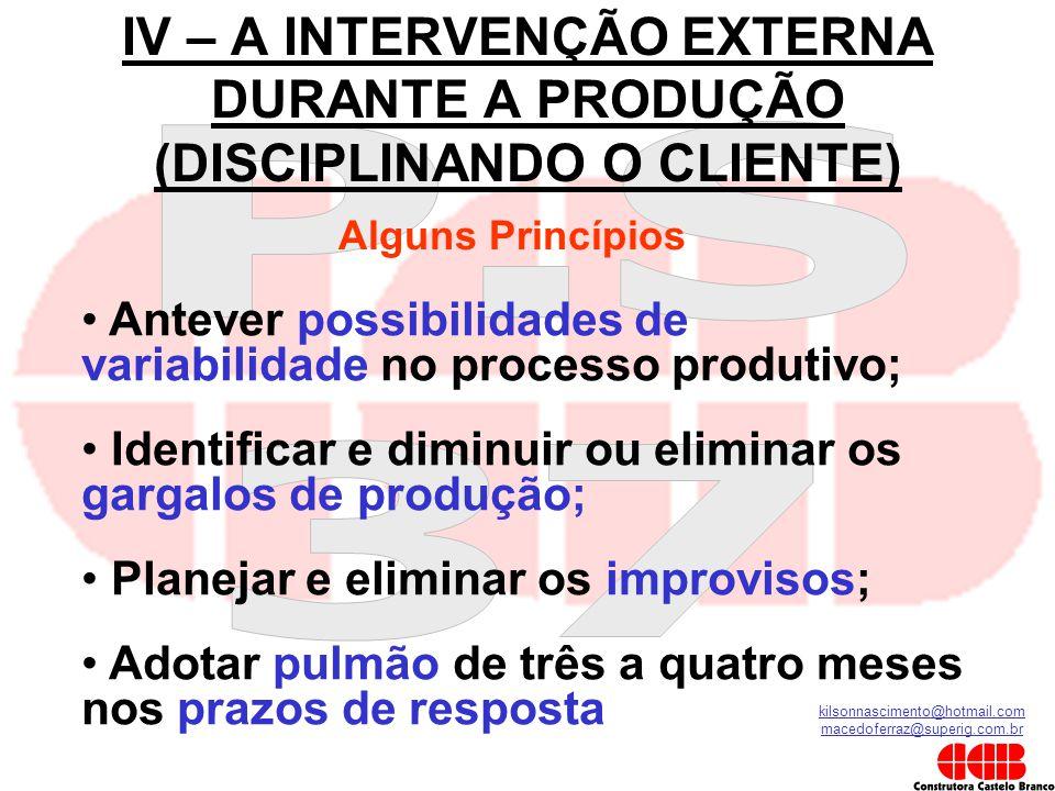 kilsonnascimento@hotmail.com macedoferraz@superig.com.br IV – A INTERVENÇÃO EXTERNA DURANTE A PRODUÇÃO (DISCIPLINANDO O CLIENTE) Alguns Princípios • A