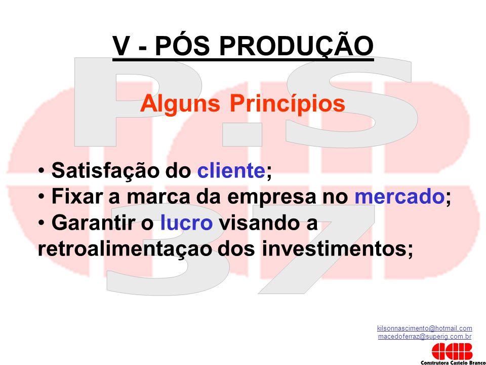 kilsonnascimento@hotmail.com macedoferraz@superig.com.br V - PÓS PRODUÇÃO Alguns Princípios • Satisfação do cliente; • Fixar a marca da empresa no mer