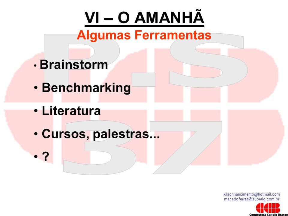 kilsonnascimento@hotmail.com macedoferraz@superig.com.br VI – O AMANHÃ Algumas Ferramentas • Brainstorm • Benchmarking • Literatura • Cursos, palestra