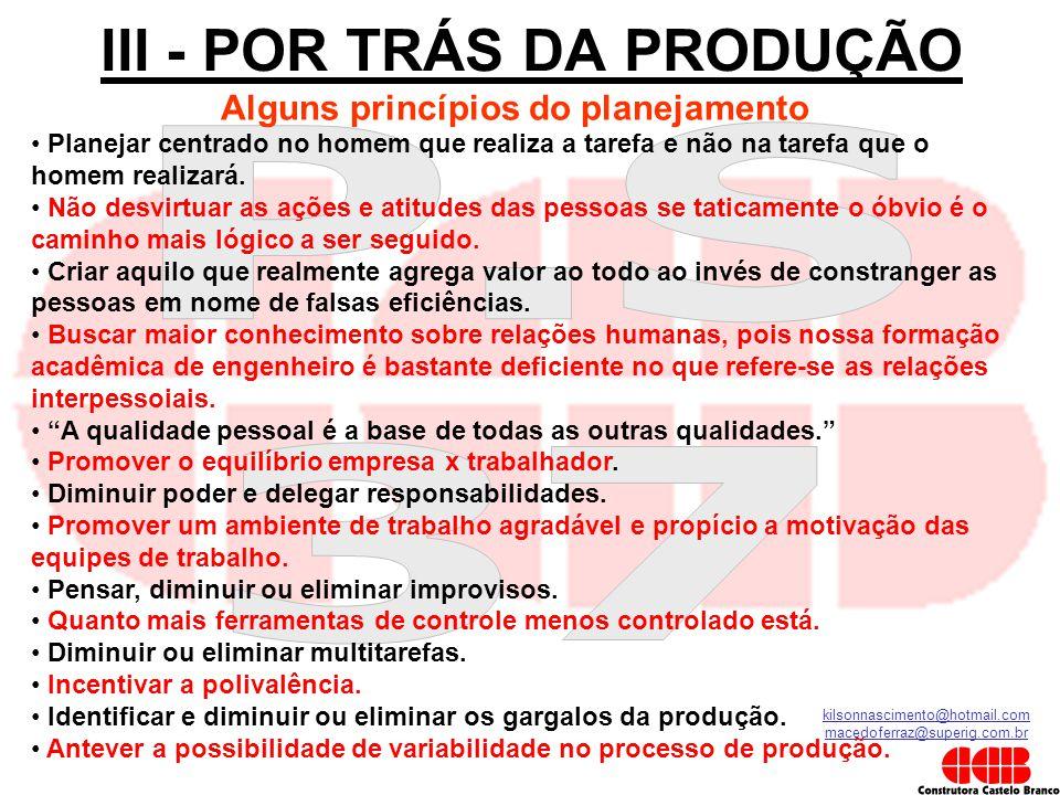 kilsonnascimento@hotmail.com macedoferraz@superig.com.br III - POR TRÁS DA PRODUÇÃO Alguns princípios do planejamento • Planejar centrado no homem que