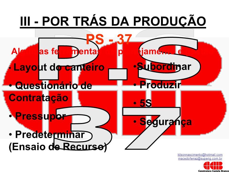 kilsonnascimento@hotmail.com macedoferraz@superig.com.br III - POR TRÁS DA PRODUÇÃO PS - 37 • Layout do canteiro • Questionário de Contratação • Press