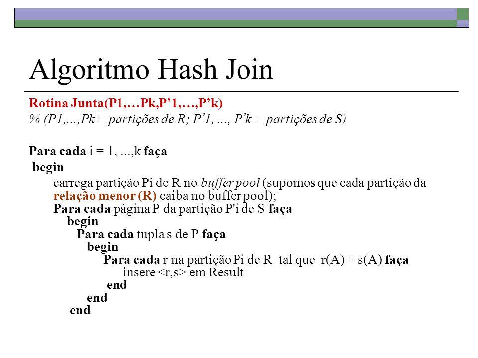 Algoritmo Hash Join Rotina Junta(P1,…Pk,P'1,…,P'k) % (P1,...,Pk = partições de R; P ' 1,..., P ' k = partições de S) Para cada i = 1,...,k faça begin